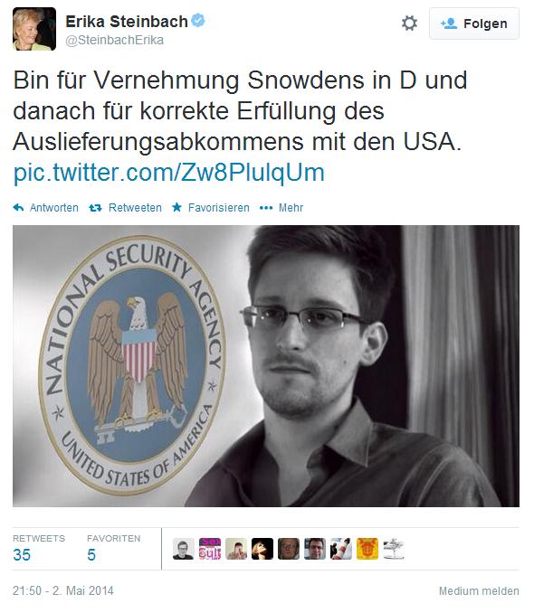 Twitter SteinbachErika Bin für Vernehmung Snowdens ...